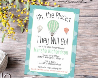 Adventure awaits hot air balloon travel baby shower invitation world map oh the places couples coed diaper wipes gay   1454 Katiedid Designs