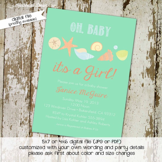 nautical baby shower invitation seashell beach ocean under the sea mint coral gender reveal diaper wipes brunch coed | 1320 Katiedid designs