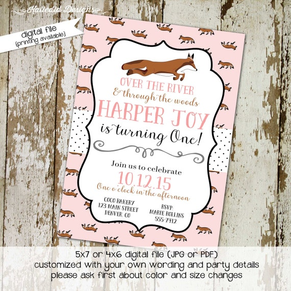 fox birthday invitation couples baby shower pink twins coed sprinkle sip see diaper wipes brunch tea party girl sleepover | 261 Katiedid
