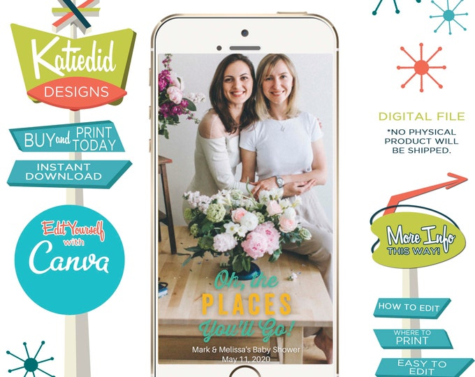Featured listing image: Snapchat geofilter Adventure awaits baby shower invitation World map Hot air balloon Travel Theme oh places you'll go boy | 1294 Katiedid