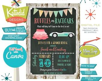 Gender Reveal Invitation Ruffles Racecars, Twin Baby Shower Invitation Gender Neutral | 1473 Katiedid Card
