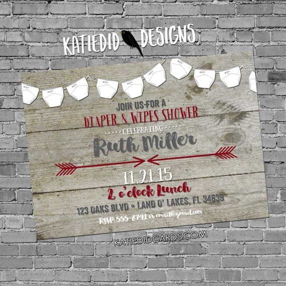 gender reveal baby shower invitation diaper wipes tribal bunting banner rustic couples coed sprinkle twins neutral red gray | 1417 Katiedid