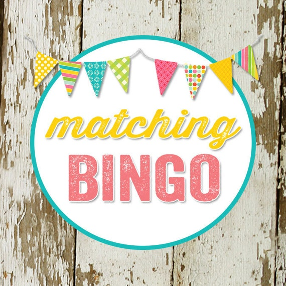 BINGO game card for baby or bridal shower, made to match any invitation, digital, printable file katiedid designs cards
