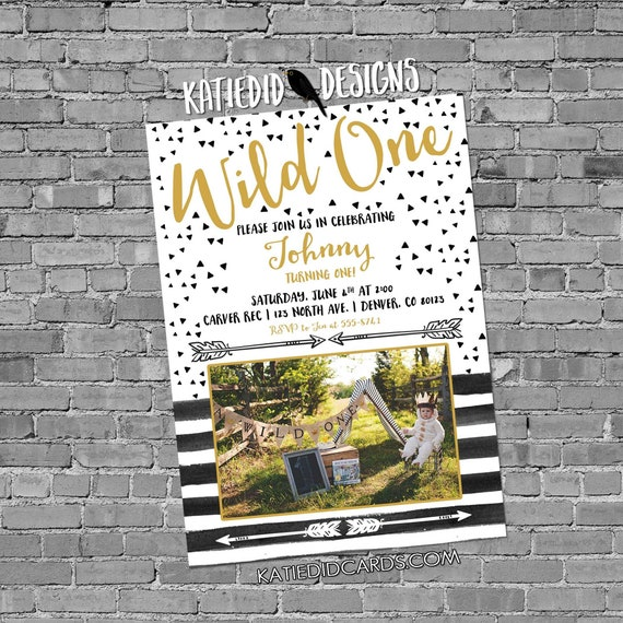 where the wild things are invitation one two birthday boy rumpus couple baby shower black white stripe storybook theme photo | 2010 Katiedid