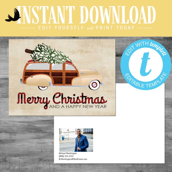 Real Estate Agent Holiday Greeting Card, Christmas card for independent Real Estate, editable postcard | Katiedid Designs