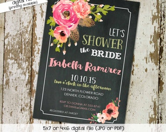Couples shower invitation rehearsal dinner stock the bar bridal floral chalkboard coed baby baptism sprinkle sip see   320 Katiedid Designs