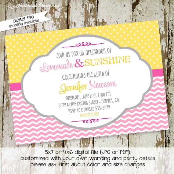 lemonade sprinkle invitation couples baby shower sip see diaper wipes brunch gender neutral reveal twins birthday gay | 1354 Katiedid cards