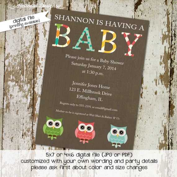 owl baby shower invitation gender reveal diaper wipes brunch coed couples twins neutral sprinkle sip see party gay | 149 Katiedid Designs