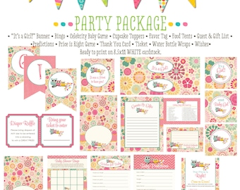 rustic baby girl owl baby shower co-ed baby shower party package banner wishes for baby cupcake toppers thank you card 1352 Katiedid Designs