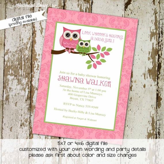 owl baby shower invitation girl pink green gender reveal neutral twins couples coed sprinkle sip see diaper wipes brunch | 1317 Katiedid