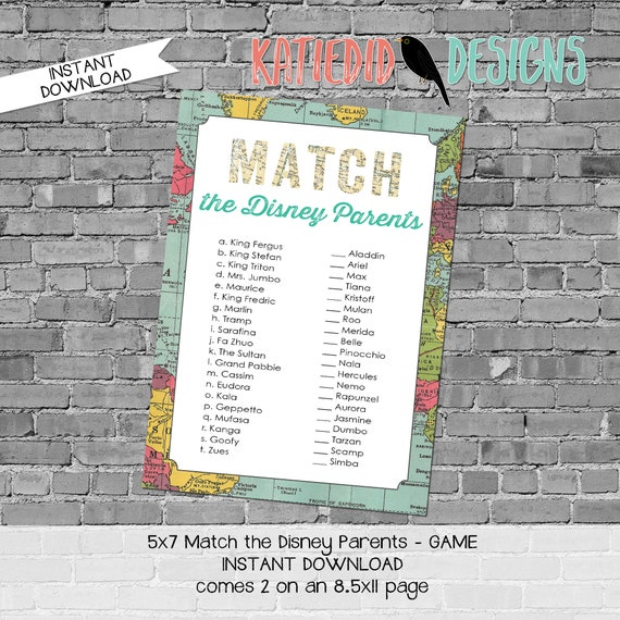 Disney Match game parents baby shower Travel Theme adventure awaits hot air balloon oh the places you'll go world map | 1294 Katiedid Design