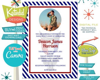 Eagle Scout Court of Honor Invitation with Photo, Patriotic High School Graduation with Picture, Edit Print Yourself | 605 Katiedid Card