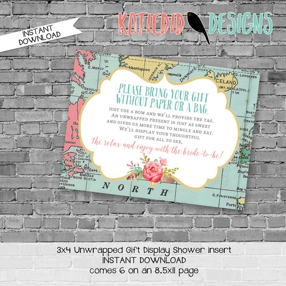Display shower insert Unwrapped gift enclosure card Couples shower invitation Travel wedding invitation bridal shower | 370 katiedid designs