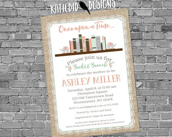 elephant baby shower invitation once upon a time storybook mint coral gender reveal girl burlap lace book library | 13100 katiedid designs