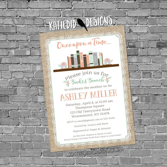 elephant baby shower invitation once upon a time storybook mint coral gender reveal girl burlap lace book library   13100 katiedid designs