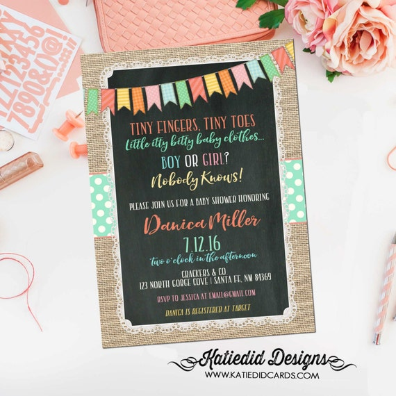 gender reveal invitation neutral couples baby shower bunting banner burlap lace chalkboard twins sprinkle sip see | 1256 katiedid designs