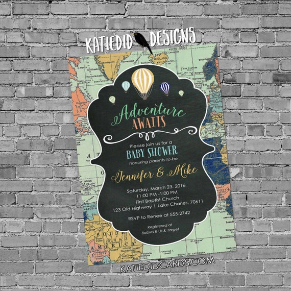 Adventure awaits Hot air balloon travel theme baby shower invitation gender reveal neutral world map chalkboard LGBT | 1469 Katiedid Designs