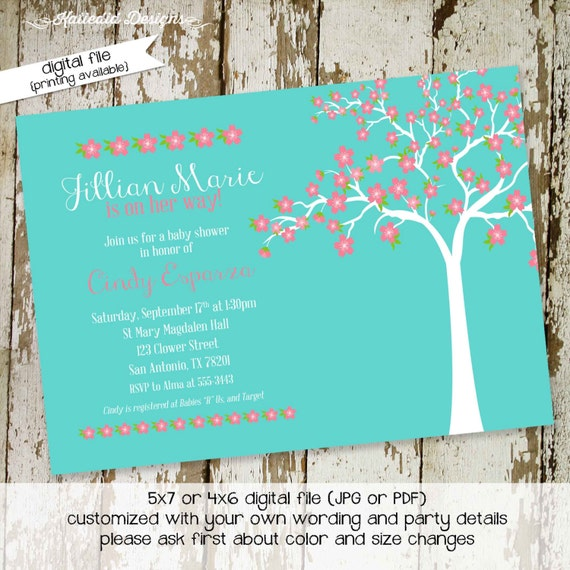 Cherry blossom baby shower invitation first communion memorial announcement obituary girl birthday floral baptism turquoise | 134 Katiedid
