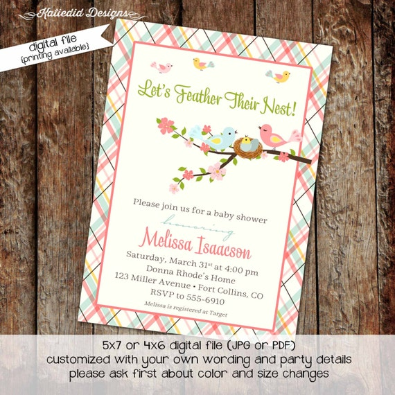 Bird nest couples baby shower invitation girl gender reveal neutral coed plaid feather sprinkle sip see baptism birthday gay | 1434 Katiedid
