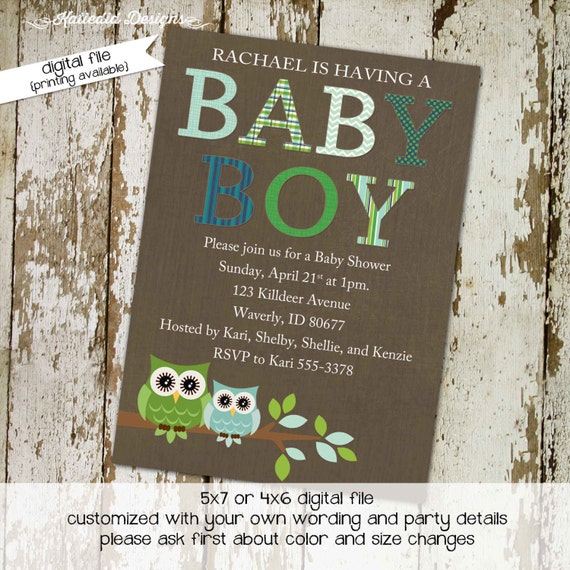 owl baby shower invitation couples boy coed diaper wipes sip see sprinkle brunch birthday blue green twins baptism | 123 Katiedid Designs