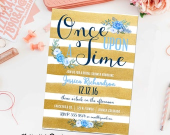 once upon a time storybook baby boy shower invitation little prince gold stripe floral couple sprinkle baptism birthday gay   12111 katiedid