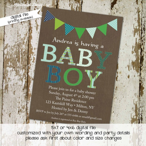 Couples baby shower invitation coed sprinkle twins sip see baptism christening first communion navy green diaper wipes   1208 Katiedid Cards