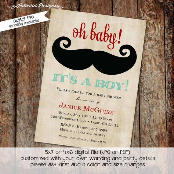 Mustache baby shower invitation Little man Gentleman oh boy couples coed sprinkle sip and see diaper wipe bash brunch | 1277 Katiedid Design