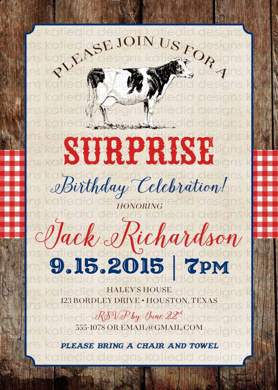 Country western birthday invitation cow farm rustic gingham ...