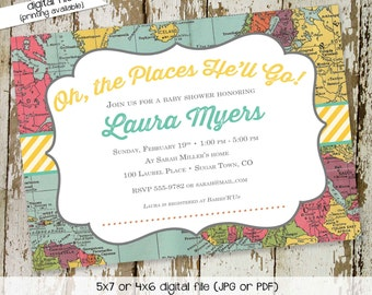 graduation invitation travel theme couples baby shower world map traveling miss mrs gender reveal neutral boy oh the places   1295 Katiedid