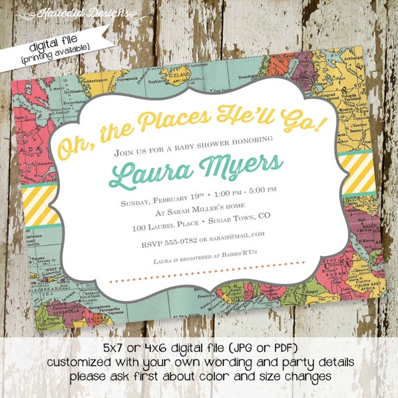 graduation invitation travel theme couples baby shower world map traveling miss mrs gender reveal neutral boy oh the places | 1295 Katiedid