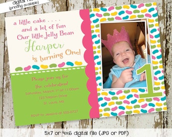 Jelly bean birthday invitation ultrasound photo pregnancy announcement couples baby shower coed sprinkle sip see brunch   250 Katiedid Cards