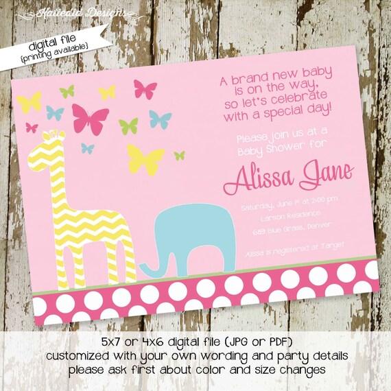 elephant baby shower invitation giraffe butterfly girl couples safari sprinkle baptism sip see birthday diaper wipes | 1358 Katiedid Designs