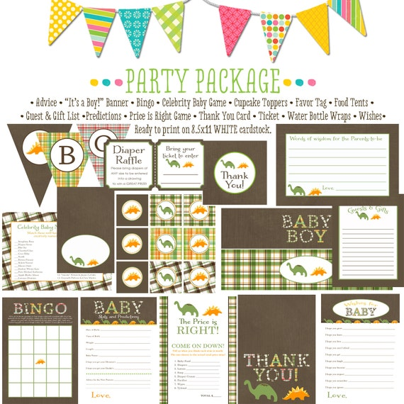 dinosaur rustic baby boy shower kraft paper rustic chic baby shower party package gender reveal party game banner wishes 1206 Katiedid cards