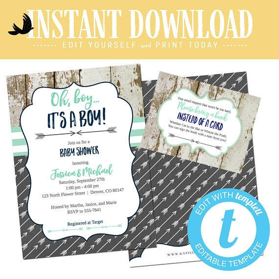 Tribal baby shower invitation boy couples rustic coed diaper wipes brunch mint navy gray twins arrow boho editable templett | 12120 Katiedid