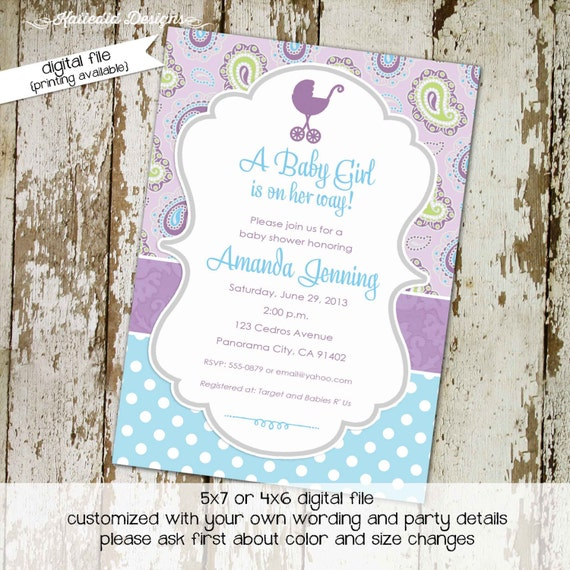 once upon a time baby shower invitation purple aqua paisley polka dot first communion two moms LGBT sprinkle sip see | 1371 Katiedid Designs
