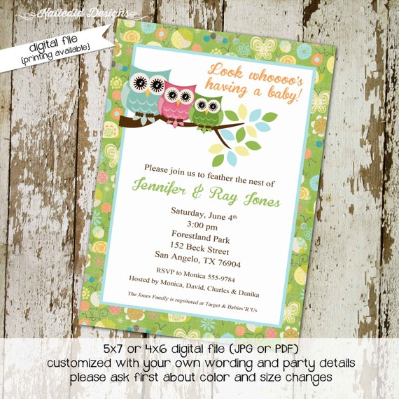 Gender reveal invitation Owl baby shower couples coed neutral twins birthday baptism diaper wipes brunch sprinkle gay | 1378 Katiedid Cards