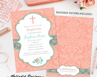 baptism invitation spanish first communion christening couples baby shower floral mint coral crucifix cross birthday girl   704 Katiedid