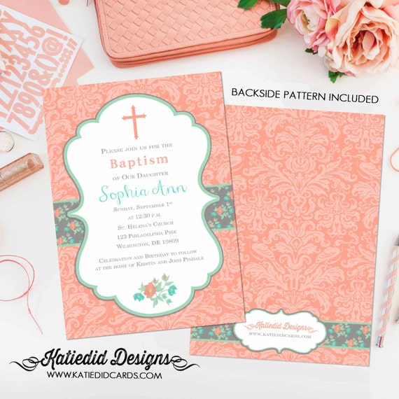 baptism invitation spanish first communion christening couples baby shower floral mint coral crucifix cross birthday girl | 704 Katiedid