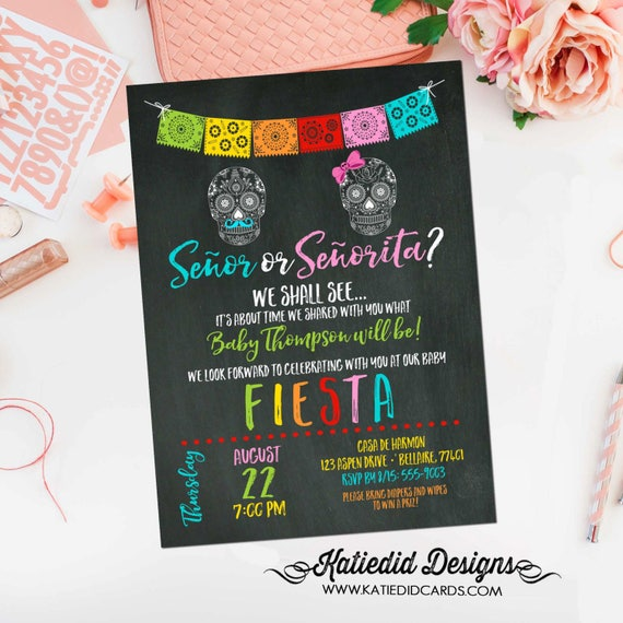 Fiesta gender reveal invitation baby shower cinco de mayo senor senorita sugar skull Papel Picado couples coed twins mexican | 1460 katiedid