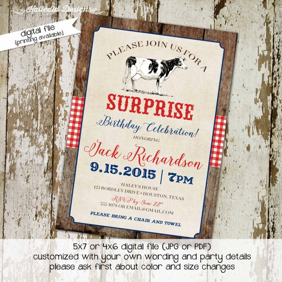 Country western birthday invitation cow farm rustic gingham patriotic red white blue housewarming party baby shower | 246 Katiedid Designs
