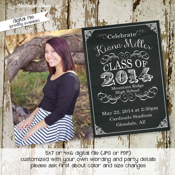 graduation invitation announcement high school senior picture photo chalkboard commencement party celebration college | 411 Katiedid Designs