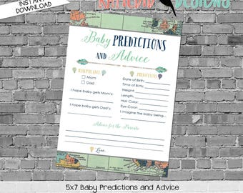 gender reveal party game travel themed baby shower co-ed diaper wipe tribal arrows world map baby predictions stats 1466 katiedid designs