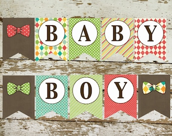 little man bow tie baby shower bow tie baptism bow tie baby boy bunting banner pennant banner kraft paper rustic chic 1217 Katiedid designs