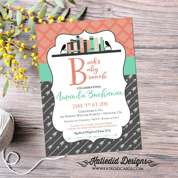 once upon a time baby shower invitation library card bookshelf tribal arrows storybook happily ever after couples | 1363 katiedid designs