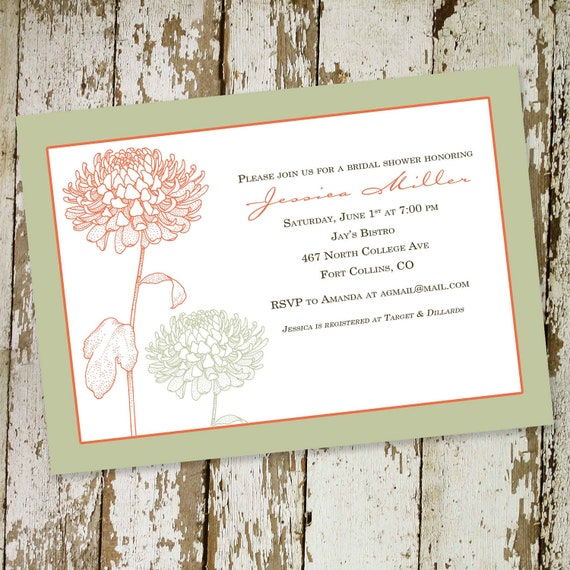couples shower invitation floral bridal mint coral I do BBQ engagement party stock the bar baptism christening baby   310 katiedid designs