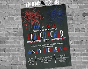 Red White and Due Gender Reveal, Baby Shower Invitation Gender Neutral, 4th of July Firecracker BBQ | 1477 Katiedid Designs