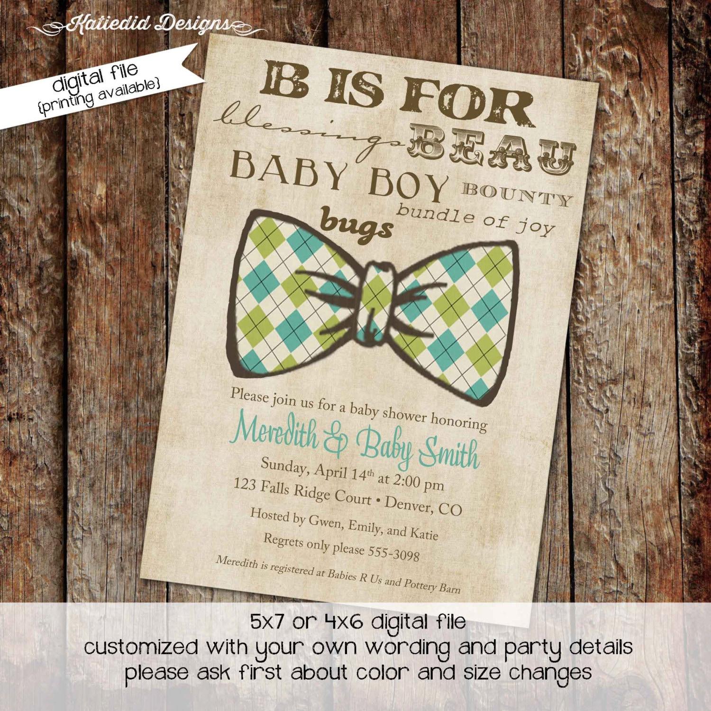 bow tie baby shower invitation little gentleman man subway art B boy ...