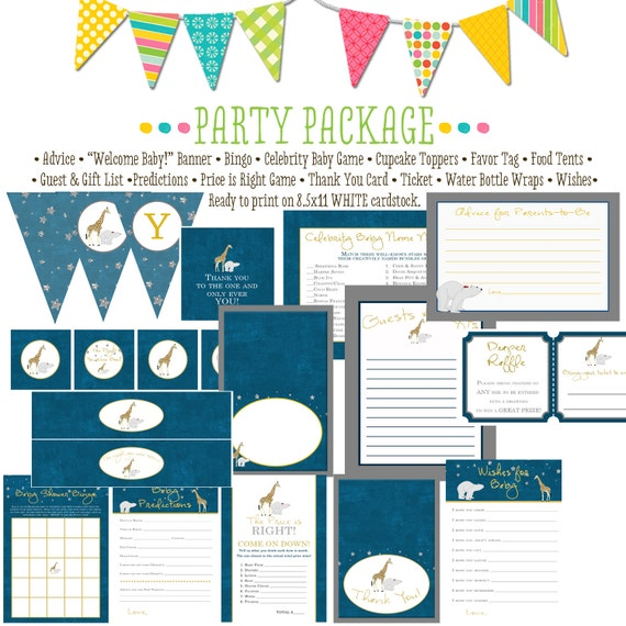 the night you were born baby shower party package bunting banner bingo thank you card wishes for baby cupcake toppers 1422 katiedid designs