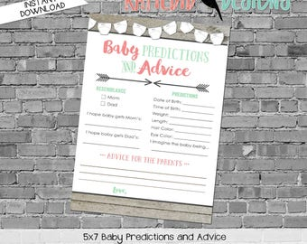 mint coral invite tribal arrows co-ed baby shower surprise gender reveal party game baby predictions stats advice 1417 katiedid designs