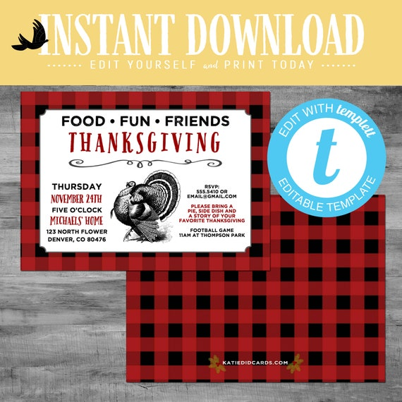 Thanksgiving invitation buffalo plaid, christmas cards with photo, lumberjack rustic picture templett | 874 Katiedid